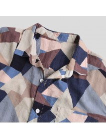 Autumn Multi Color Block Printing Long Sleeve Casual Shirts