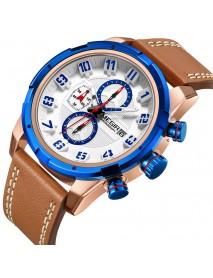 MEGIR 2082 Waterproof Sport Men Wrist Watch Calendar Leather Strap Quartz Watches