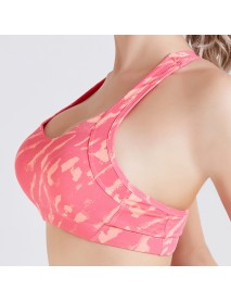 Camouflage Printed Back Cross Shockproof Quick Drying Yoga Sports Bra