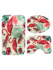 1/3/4Pcs Flamingo Waterproof Shower Curtain Toilet Cover Mat Bathroom Set Non-Slip Rug Kit