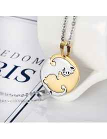 Trendy Geometric Animal Stainless Steel Necklace Cute Sweet Cat Pendant Puzzle Couple Necklace
