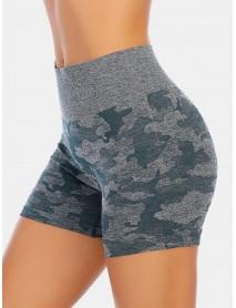 Camouflage Women Dry Quickly Seamless High Waist Elastic Biker Shorts