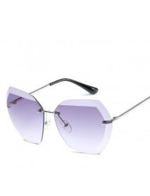 Men Women Outdoor Casual Ocean Piece Sunglasses Cut Edge Frameless Metal Sunglasses