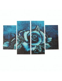 4 Pcs Wall Decorative Painting Teal Rose Floral Canvas Print Art Pictures Frameless Wall Hanging Decorations for Home Office