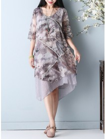 Chinese Style Printed Double Layers Women Dress