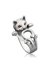 Ethnic Red Eye Fortune Cat Ring Cute Antique Silver Adjudestble Ring Vintage Jewelry for Women