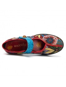 SOCOFY Floral Jacquard Splicing Leather Shoe Pattern Hook Loop Pumps