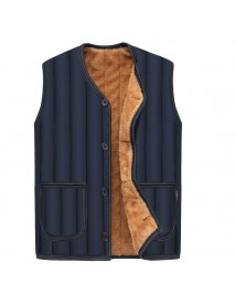 Mens Autumn Winter Fleece Thick Warm Black Solid Color V Neck Vest