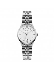 SKMEI Fashion Simple Couple Watch Date Display Stainless Steel Strap Women Men Quartz Watch