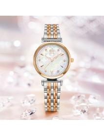 SHENGKE SK K0136 Crystal Dial Flower Pattern Stainless Steel Ladies Dress Women Quartz Watch