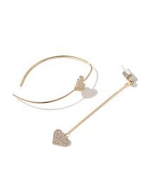 Delicate Dazzling Asymmetric Heart Earring Sterling Silver Gold Earrings for Women