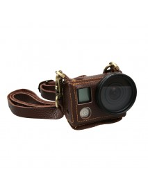Portable Leather Case Cover Bag for Action Camera Gopro Hero 4 Silver with 40.5mm UV Lens Kit