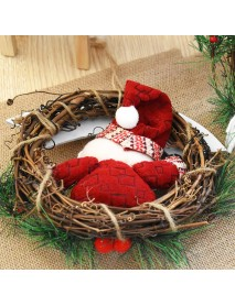 20cm Christmas Wreath for Front Door Hang Garland with Santa Claus Snowman Ornaments Natural Rattan