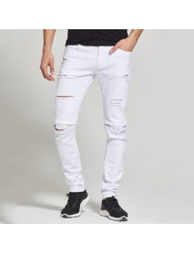 Casual Fashion Pencil Pants Knee Ripped Patchwork Solid Color Hip-Hop Jeans