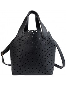 2 PCS Women Hollow Out PU Leather Bucket Bag Solid Crossbody Bag