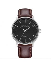 CRRJU 2117 Fashion Men Quartz Watch Casual Man PU Leather Strap Wristwatch