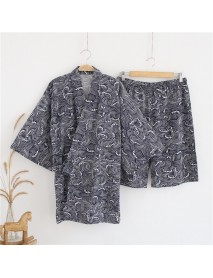 2PCS Men's Kimono Yukata Pyjamas Japanese Style Bathrobe Floral Print Sleepwear