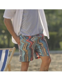 Men Colorful Stripe Design Beach Quick Drying Breathbale Board Shorts