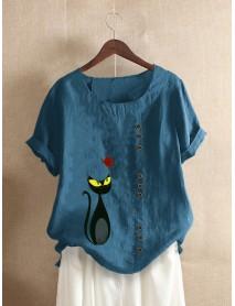 Cartoon Cat Print O-neck Short Sleeve Button Casual T-shirts For Women