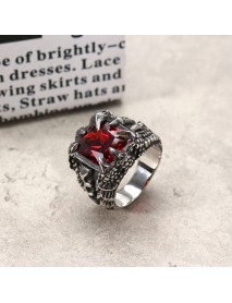 Cool Punk Dragon Claw Zircon Ring Stainless Steel High Polished Ring Halloween Jewelry