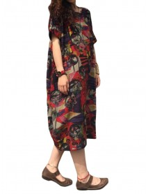 L-5XL Vintage Women Floral Pattern Printed Pocket Dress