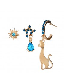 3 Pcs/set Cute Cat with Stars Earrings Blue Rhinestone Piercing Stud Earring Set for Women