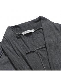 Mens Casual Solid Color Irregular Hem Mid Long Jacket Draped Woollen Cardigans