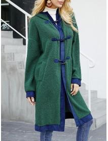 Casual Fleece Patch Horn Button Pockets Knee Hooded Coats