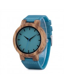 BOBO BIRD C28 Casual Style Wooden Watch Blue Genuine Leather Strap Quartz Watch