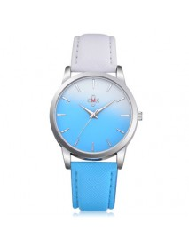 DEFFRUN HJ1317  Candy Color Gradient Stitching Leather Strap Simple Design Fashion Women Watch Quartz Watch