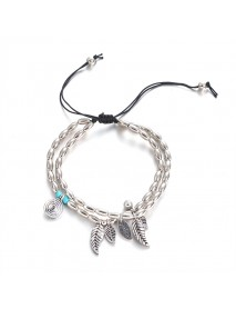 Bohemian Silver Anklet Leaves Pendant Beads Bracelet Barefoot Sandals Beach Foot Jewelry for Women