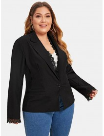 Plus Size Women Office Lace Patchwork Turn-down Collar Casual Black Suit Coat
