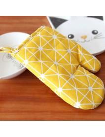 1PC Kitchen Heat Resistant Cloth Mitt Plaid Pattern Printed Baking Oven Insulation Anti-scald Glove