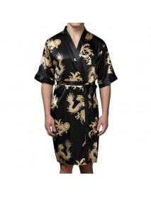 Mens Plus Size Retro Luxury Stain Japanese Kimono Chinese Dragon Ice Silk Sleepwear Robes