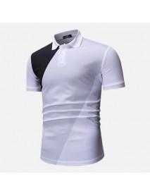 Men Muscle Fit Color Block Short Sleeve Golf Shirt