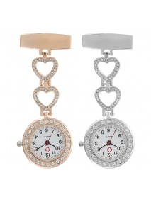 Luxury Stainless Steel Strap Crystal Heart Dial Quartz Fob Medical Nurse Pocket Watch