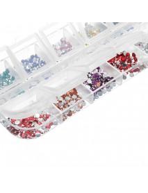 12 Grid Multi-Color Nail Art Rhinestones 3D Glitter Diamonds Crystal DIY Nail Sticker