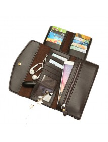 16 Card Slot Three-folded External Card Bag PU Leather Phone Wallet For Phone Under 5.5-inch