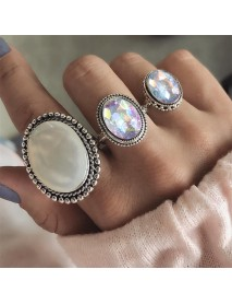 3Pcs/set Statement Silver Color Ring Set Big Gem Stone Women's Oval Boho Knuckle