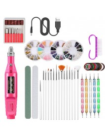 50 Pcs/Set Manicure Set Electric Nail Drill Machine Set with USB nail Sanding Pen Set Nail Stick Drill Kits