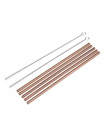 7pcs Stainless Steel Rose Gold Curved Straw / Straight Straw + Brush Reusable