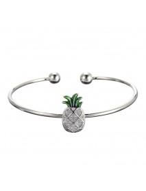JASSY 925 Sterling Silver Womens Bangle Bracelet Trendy Pineapple Charm Adjustable Bracelets