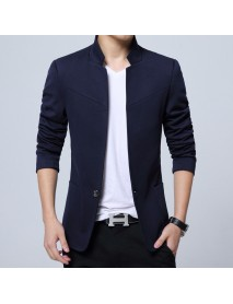Men's Casual Single Breasted Suits Stand Collar Pure Color Jackets