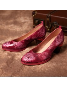 SOCOFY Genuine Leather Handmade Flowers Pattern Soft Pumps