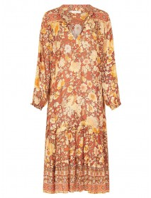 Bohemian Floral Print V-neck Long Sleeve Mid-long Dress