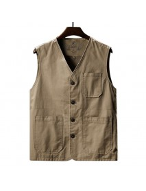 Mens Casual Outdoor Fishing Vest Slim Cotton Tactical Waistcoat Male Zipper Vest