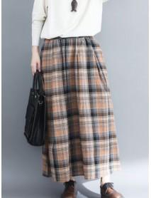Women Vintage Elastic Waist Plaid A-line Maxi Skirts with Pockets