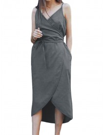 M-5XL Women Solid Color V-Neck Strap Dress with Belt