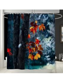 1.8M Maple Prints Bath Shower Curtain Fabric Bathroom Decor Set with 12 Hooks