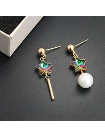 925 Sterling Silver Trendy Zircon Asymmetric Star Pendant Earrings for Women